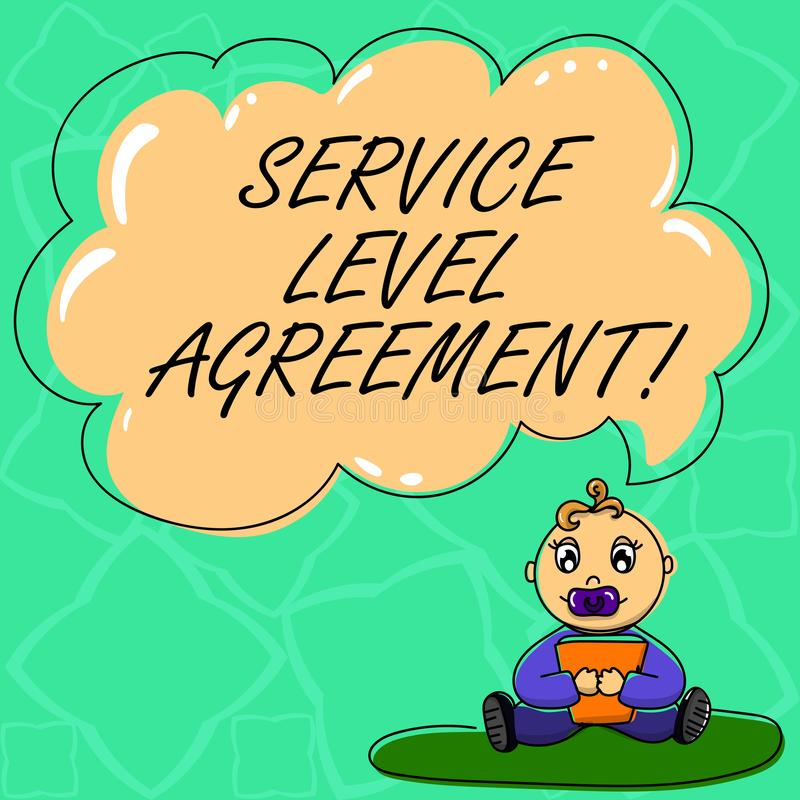 Word écrivant l'accord de taux de disponibilité des textes Concept d'affaires pour l'engagement entre un fournisseur de services  illustration stock