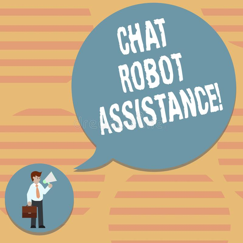 Word écrivant l'aide de robot de causerie des textes Le concept d'affaires pour réponses service à la clientèle des questions et  illustration stock
