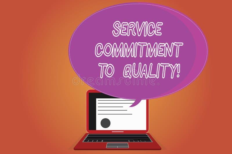 Word écrivant l'engagement de service des textes à la qualité Concept d'affaires pour l'excellente bonne disposition de haute qua photo stock