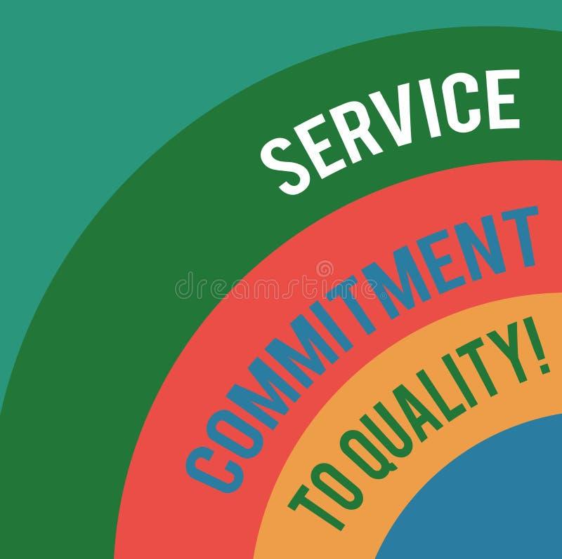 Word écrivant l'engagement de service des textes à la qualité Concept d'affaires pour de haute qualité l'arc posé excellente bonn illustration libre de droits