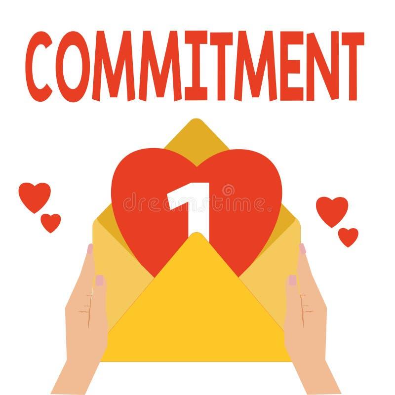 Word écrivant l'engagement des textes Concept d'affaires pour la qualité d'être consacré causer l'engagement d'activité illustration de vecteur