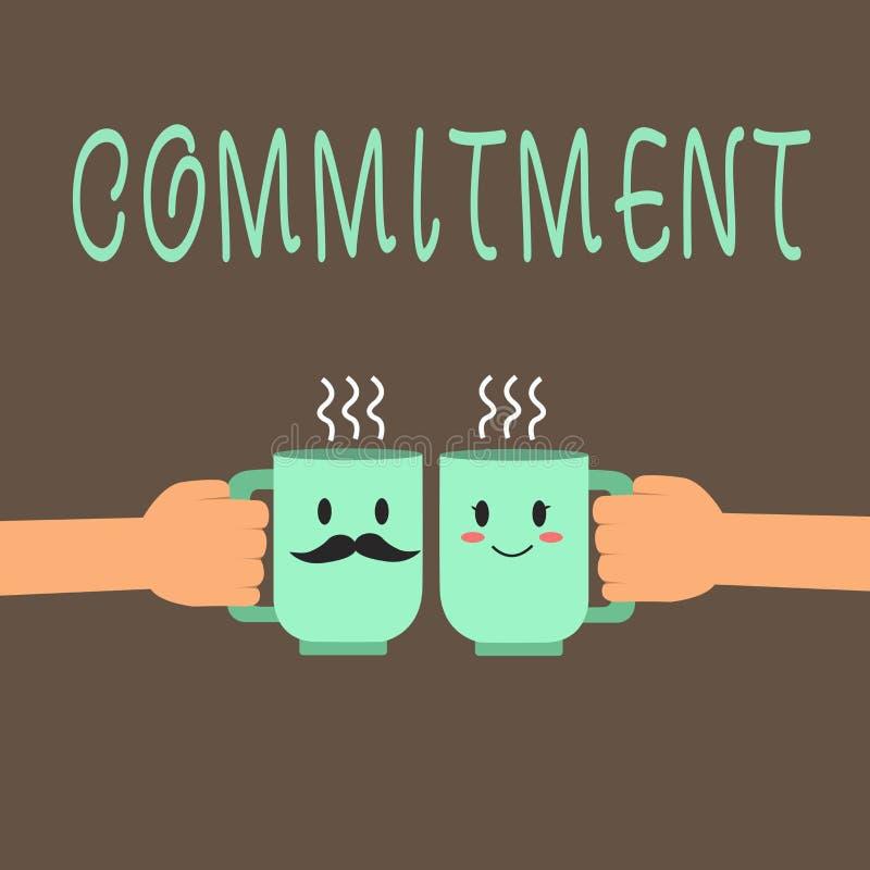 Word écrivant l'engagement des textes Concept d'affaires pour la qualité d'être consacré causer l'engagement d'activité illustration stock