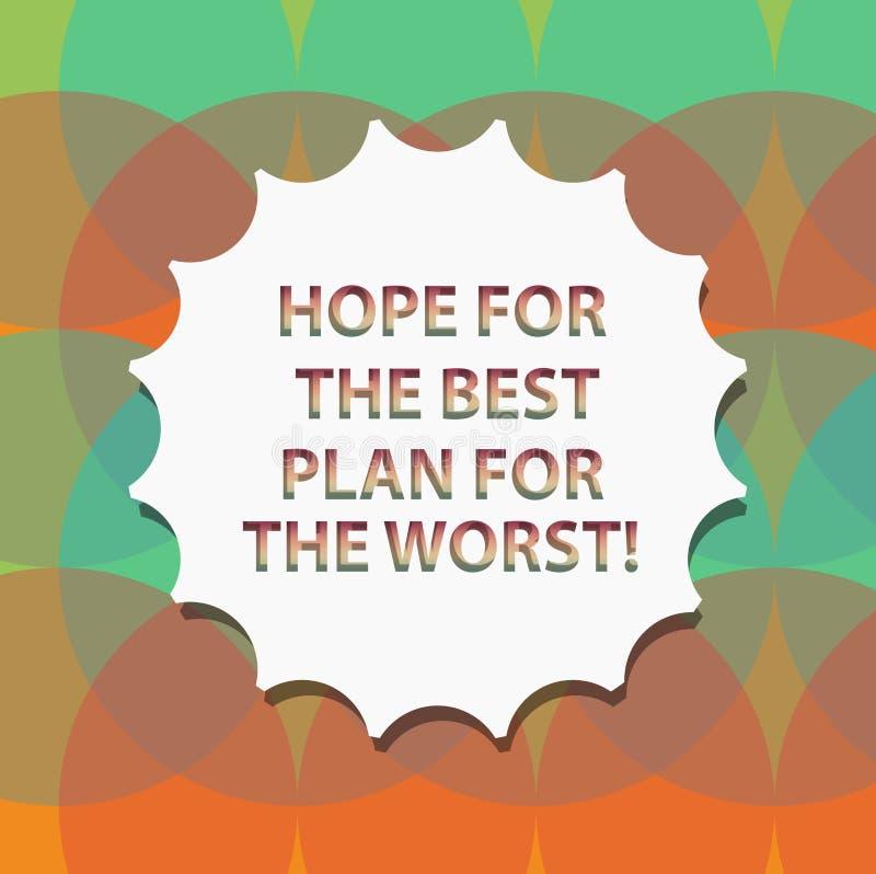 Word écrivant l'espoir des textes pour le meilleur plan pour le plus mauvais concept d'affaires pour des plans Make pour l'attent illustration libre de droits