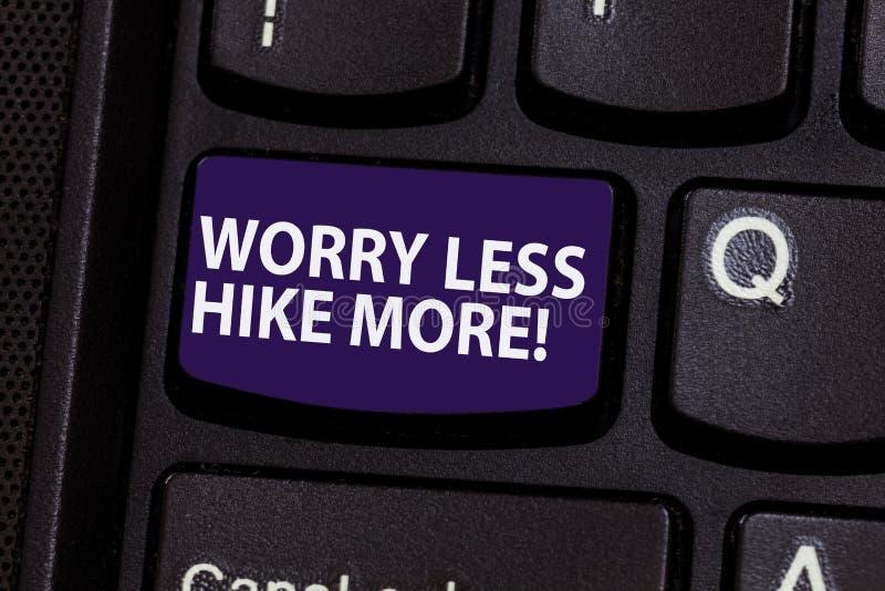 Word écrivant l'inquiétude des textes moins la hausse davantage Concept d'affaires pour le loisir détendre et exercer la clé de c image libre de droits