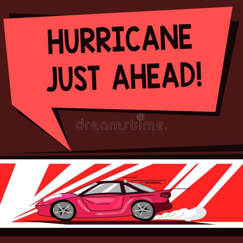 Word écrivant l'ouragan des textes juste en avant Le concept d'affaires pour le cyclone tropical violent s'approche pour heurter  illustration libre de droits