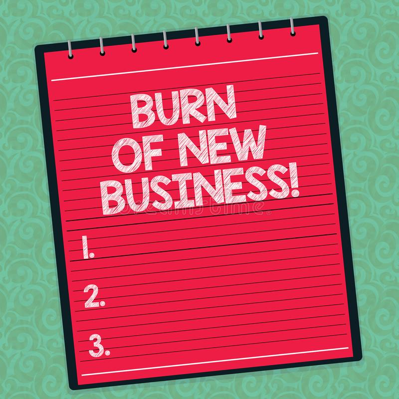 Word écrivant la brûlure des textes des affaires nouvelles Concept d'affaires pour le montant d'argent mensuel d'argent liquide q illustration stock