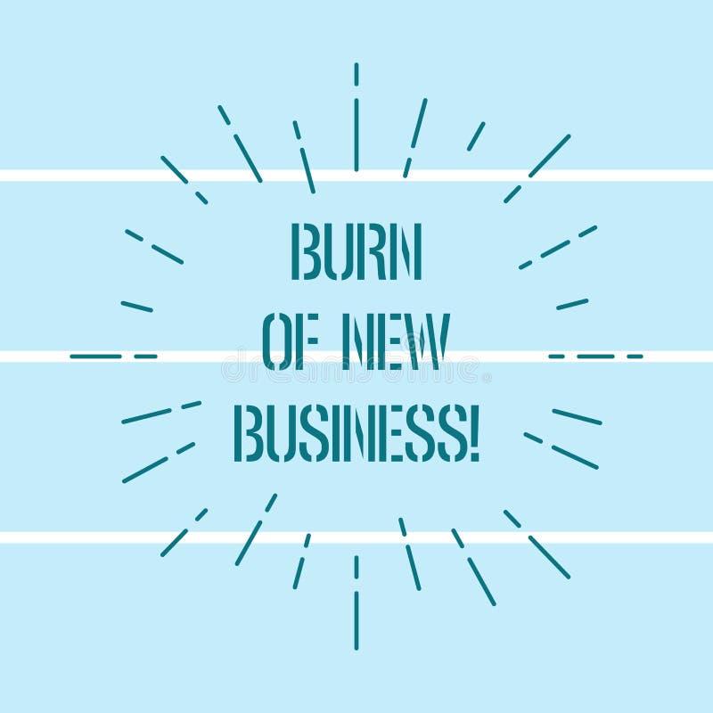 Word écrivant la brûlure des textes des affaires nouvelles Le concept d'affaires pour le montant d'argent mensuel d'argent liquid illustration de vecteur