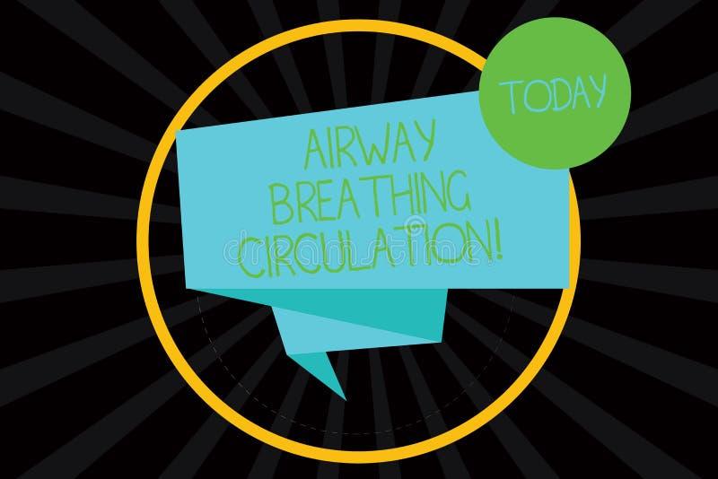 Word écrivant la circulation de respiration de voie aérienne des textes Concept d'affaires pour l'aide de mémoire pour des sauvet illustration libre de droits