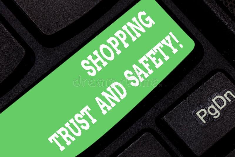 Word écrivant la confiance et la sécurité d'achats des textes Concept d'affaires pour la sécurité sur le clavier en ligne de paie illustration de vecteur