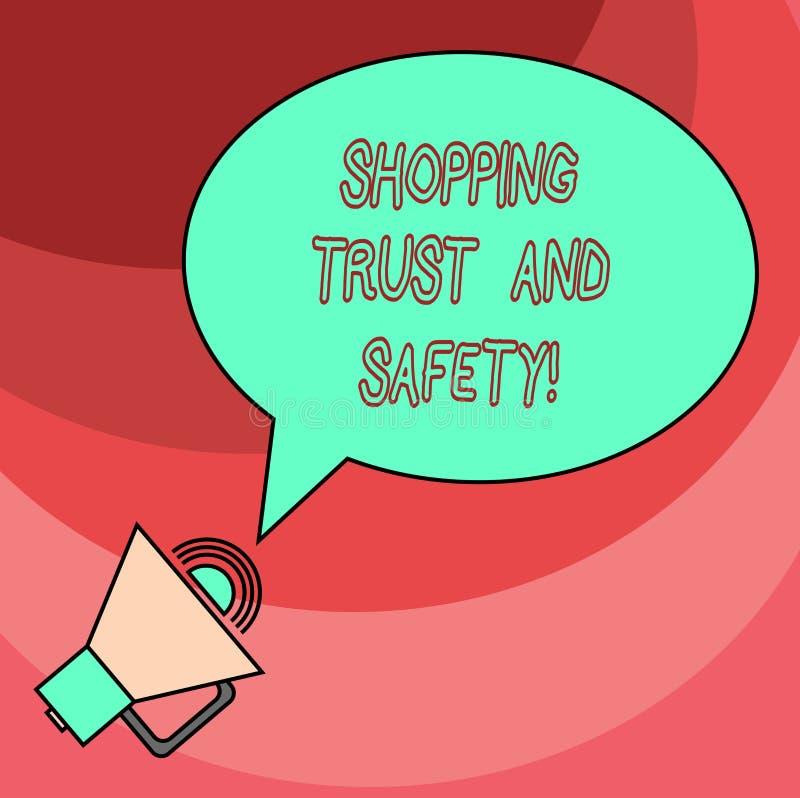 Word écrivant la confiance et la sécurité d'achats des textes E illustration de vecteur