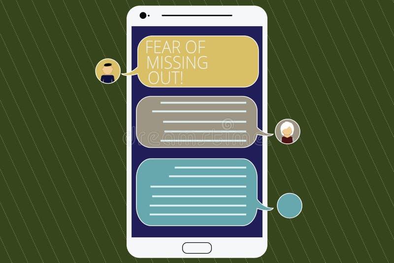 Word écrivant la crainte des textes de manquer  Concept d'affaires pour effrayé de perdre quelque chose ou quelqu'un mobile soumi illustration stock
