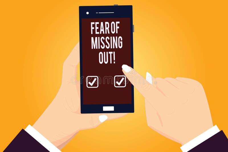 Word écrivant la crainte des textes de manquer  Le concept d'affaires pour effrayé de perdre quelque chose ou quelqu'un a soulign illustration libre de droits