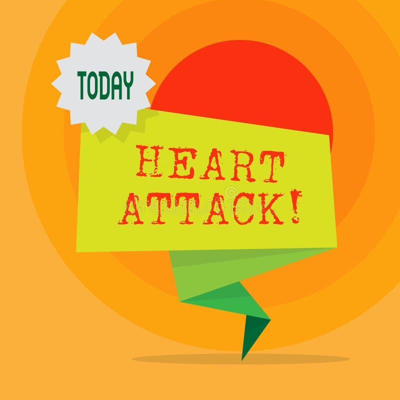 Word écrivant la crise cardiaque des textes Concept d'affaires pour l'occurrence soudaine de l'infarctus du myocarde ayant pour r illustration stock