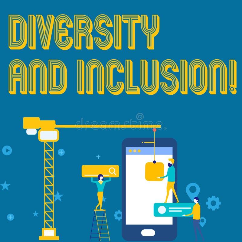 Word écrivant la diversité et l'inclusion des textes Le concept d'affaires pour la différence de huanalysis de gamme inclut l'app illustration de vecteur