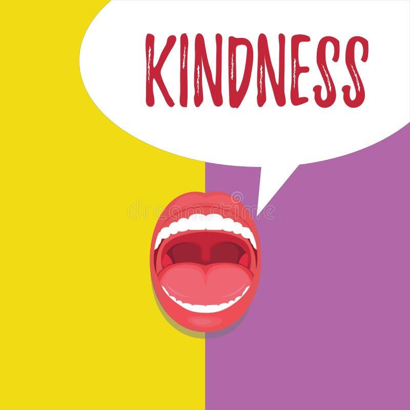 Word écrivant la gentillesse des textes Concept d'affaires pour la qualité d'être chaleur généreuse et prévenante amicale illustration stock