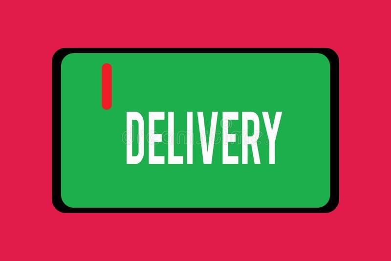 Word écrivant la livraison des textes Concept d'affaires pour l'action de livrer des colis ou des marchandises de lettres donnant illustration libre de droits