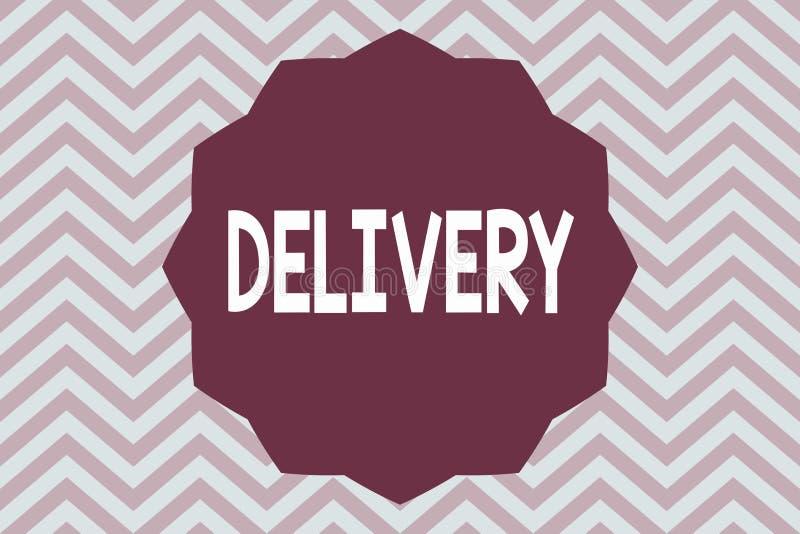 Word écrivant la livraison des textes Concept d'affaires pour l'action de livrer des colis ou des marchandises de lettres donnant illustration stock