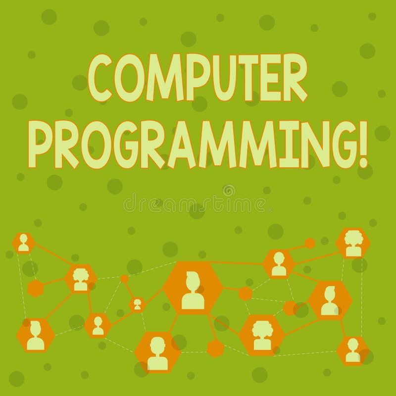 Word écrivant la programmation par ordinateur des textes Concept d'affaires pour le processus qui instruit un ordinateur sur la  illustration stock