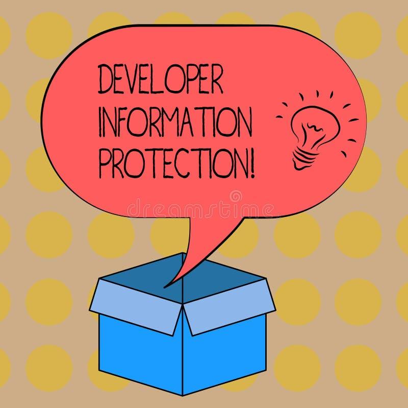Word écrivant la protection de l'information de promoteur des textes Concept d'affaires pour l'information importante de sauvegar illustration stock