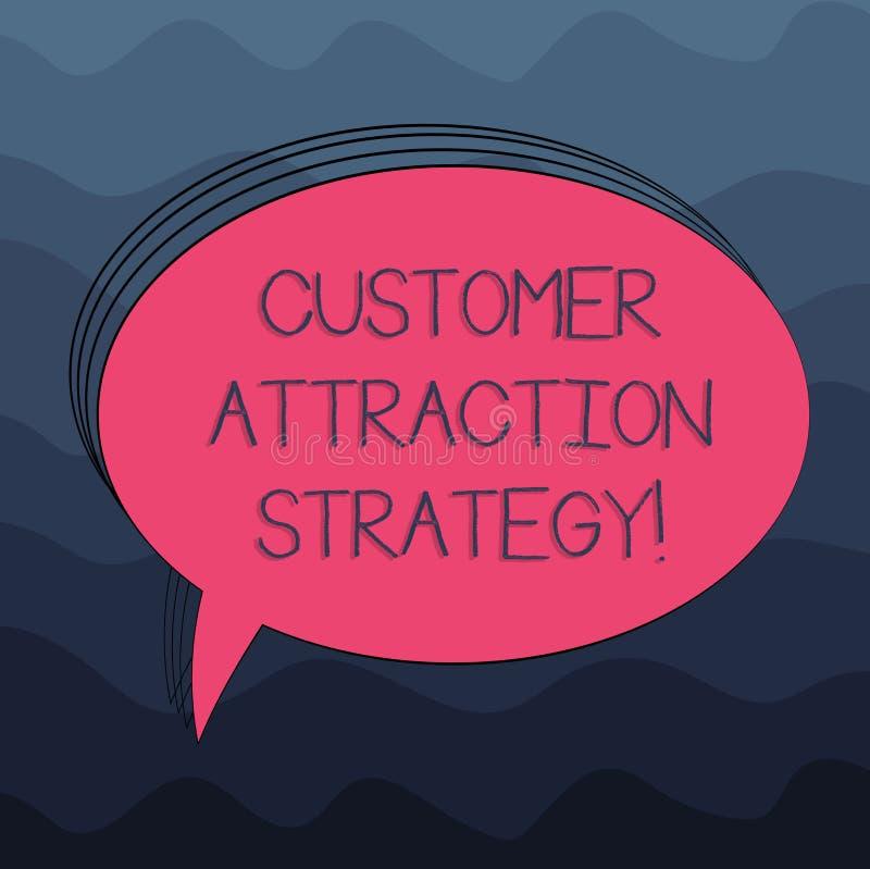 Word écrivant la stratégie d'attraction de client des textes Le concept d'affaires pour encouragent des clients à acheter votre o illustration de vecteur