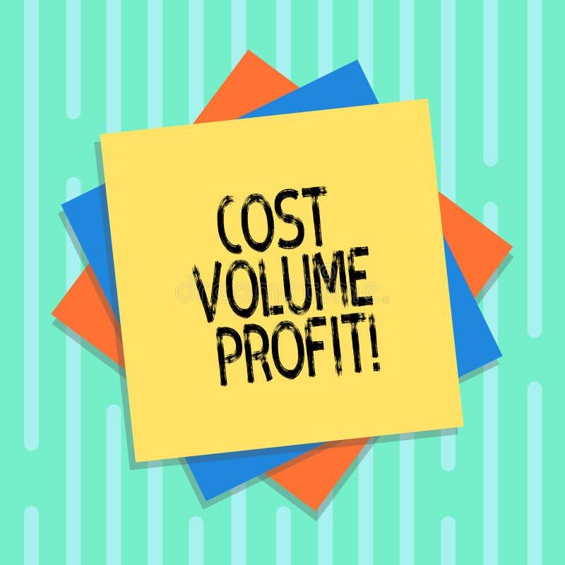 Word écrivant le bénéfice de volume de coût des textes Le concept d'affaires pour la forme de comptabilité analytique et de lui e illustration stock