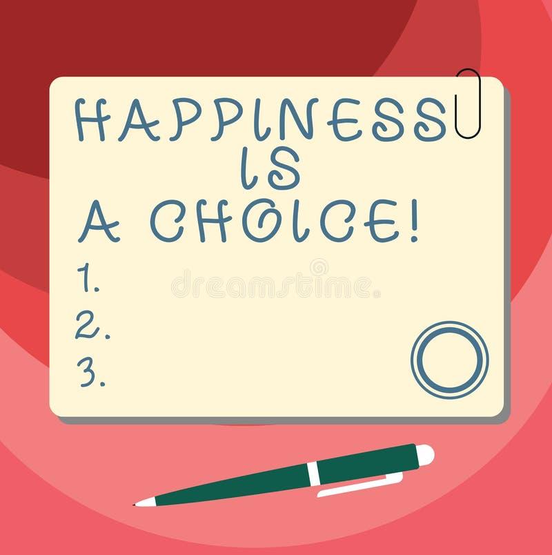 Word écrivant le bonheur des textes est un choix Concept d'affaires pour le blanc motivé inspiré gai heureux de séjour tout le te illustration stock