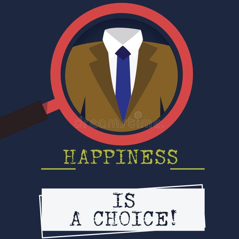 Word écrivant le bonheur des textes est un choix Concept d'affaires pour gai heureux de séjour tout le temps inspiré motivé illustration de vecteur