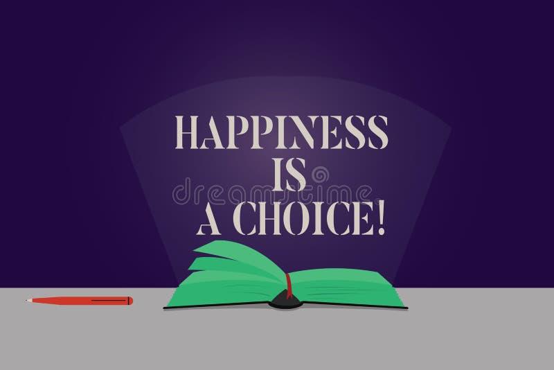 Word écrivant le bonheur des textes est un choix Concept d'affaires pour la couleur motivée inspirée gaie heureuse de séjour tout illustration libre de droits