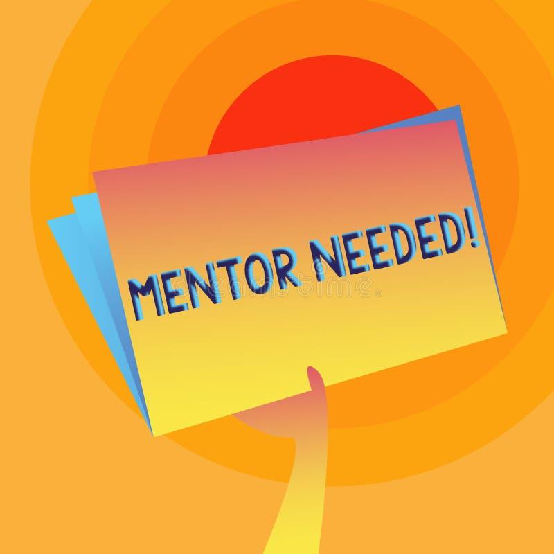 Word écrivant le mentor des textes a eu besoin Concept d'affaires pour l'appui de conseil de conseils formant la main requise se  illustration de vecteur