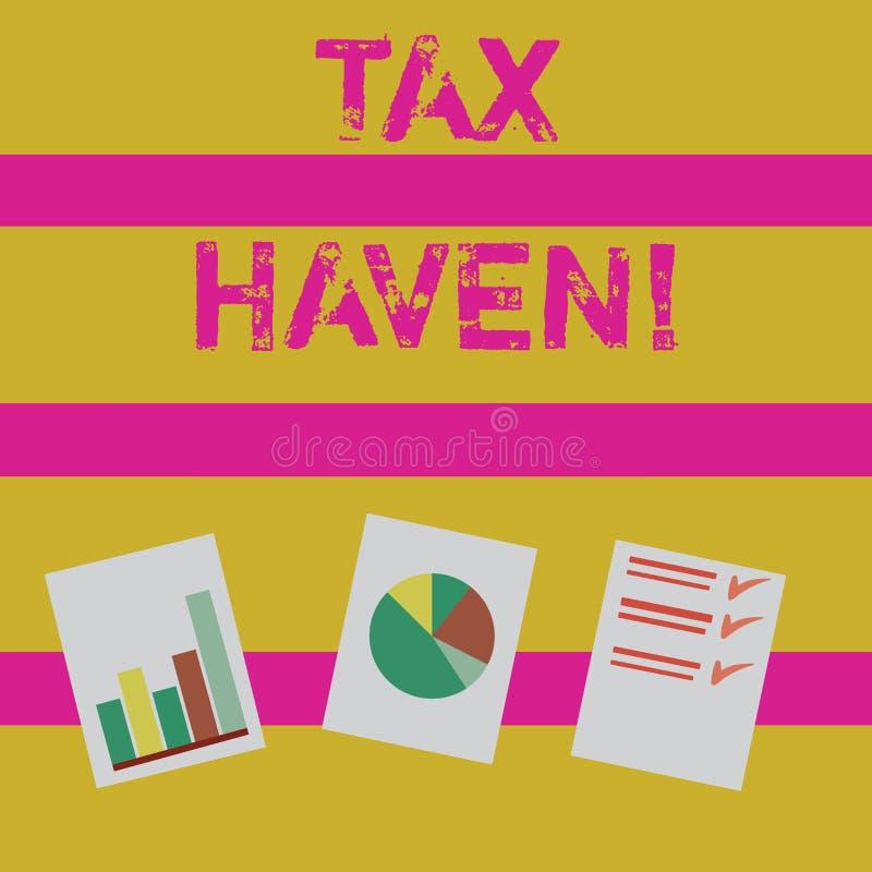 Word écrivant le paradis fiscal des textes Concept d'affaires pour le pays ou secteur indépendant où des impôts sont prélevés à b illustration libre de droits