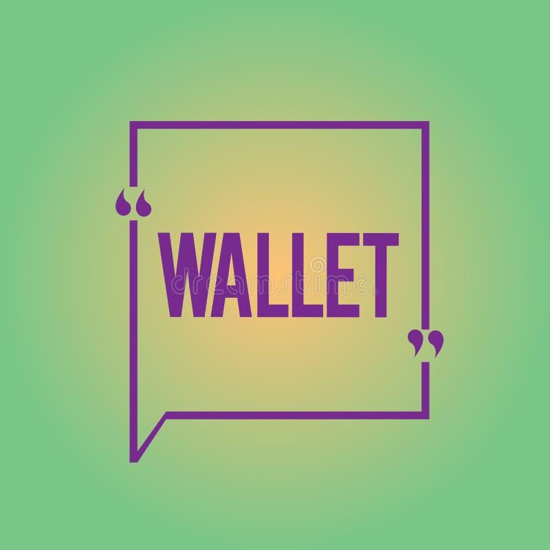 Word écrivant le portefeuille des textes Concept d'affaires pour le point de droit se pliant plat de poche pour tenir l'argent et illustration de vecteur
