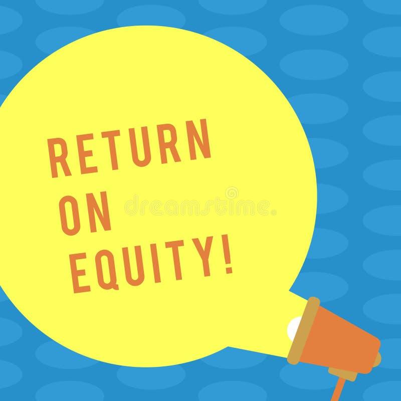 Word écrivant le retour des textes sur des capitaux propres Concept d'affaires pour des affaires de rentabilité par rapport à la  illustration de vecteur