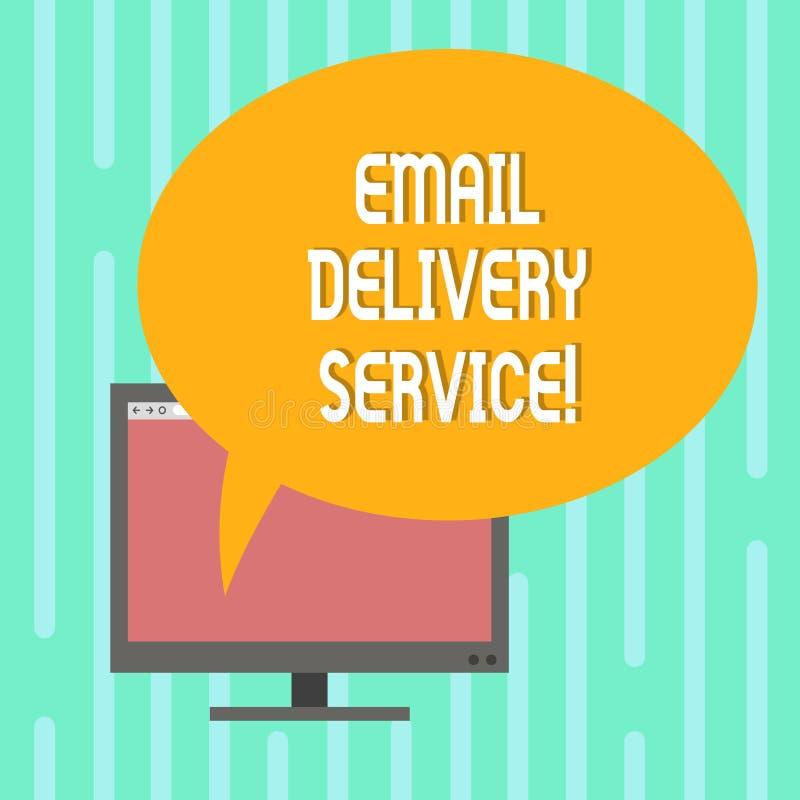 Word écrivant le service de distribution d'email des textes Concept d'affaires pour la plate-forme ou les outils de vente d'email illustration stock
