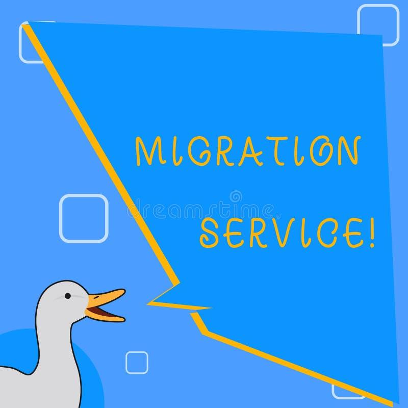 Word écrivant le service de migration des textes Concept d'affaires pour différents vendeurs de nuage de décalage sans photo d'ex illustration stock