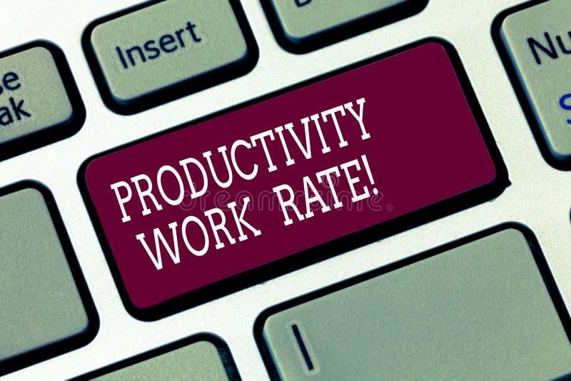 Word écrivant le taux de travail de productivité des textes Concept d'affaires pour l'évaluation de l'efficacité d'un groupe ou d photographie stock