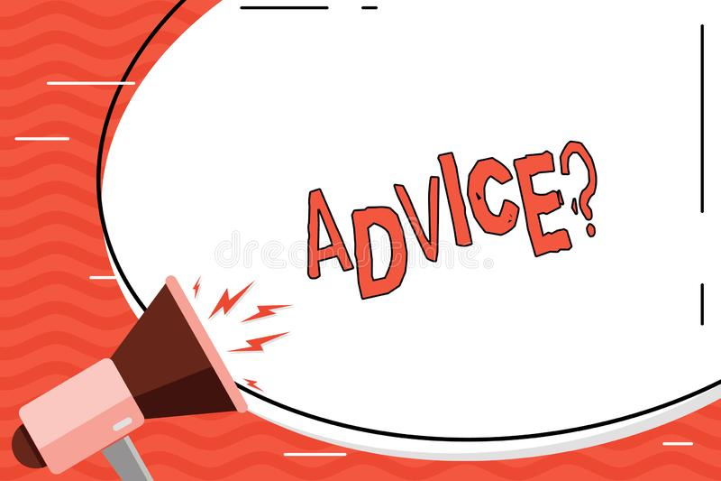 Word écrivant le texte Advicequestion Le concept d'affaires pour conseiller l'aide d'encouragement recommandent le boeuf de souti illustration libre de droits