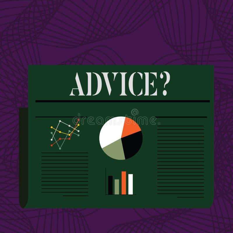 Word écrivant le texte Advicequestion Le concept d'affaires pour conseiller l'aide d'encouragement recommandent le boeuf de souti illustration stock