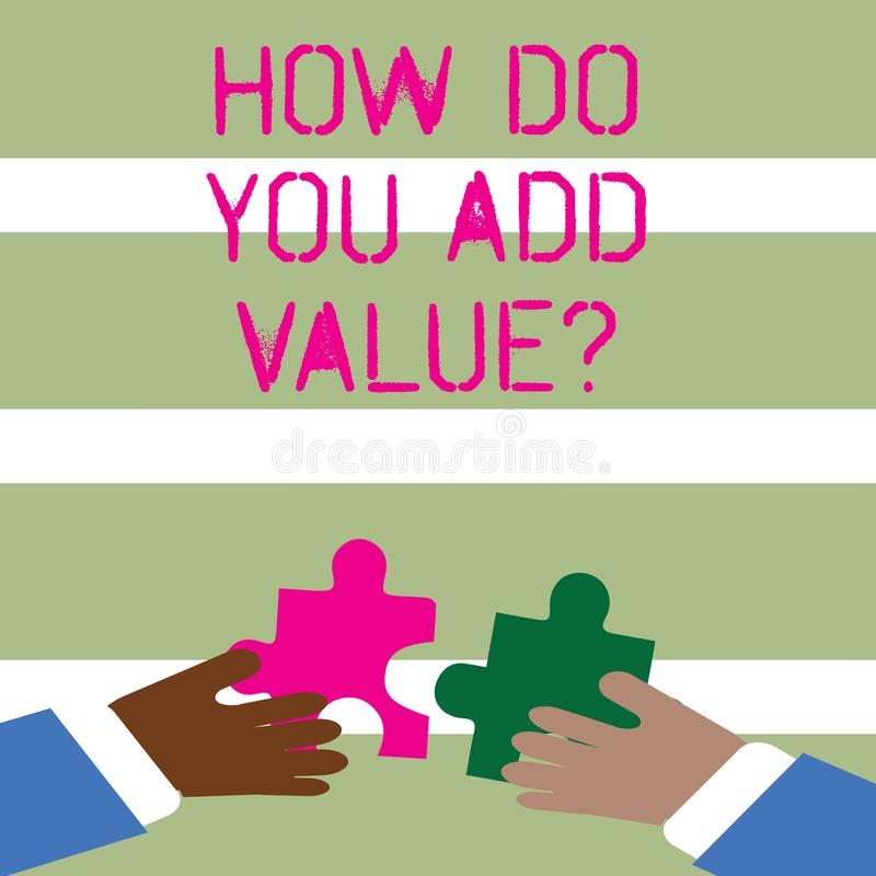 Word écrivant le texte comment vous ajoutez Valuequestion Le concept d'affaires pour le progrès d'affaires Bring contribuer gagne illustration stock
