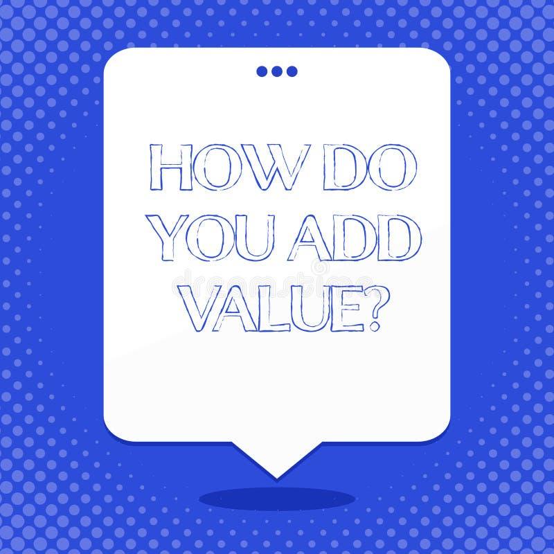 Word écrivant le texte comment vous ajoutez Valuequestion Le concept d'affaires pour le progrès d'affaires Bring contribuer gagne illustration libre de droits