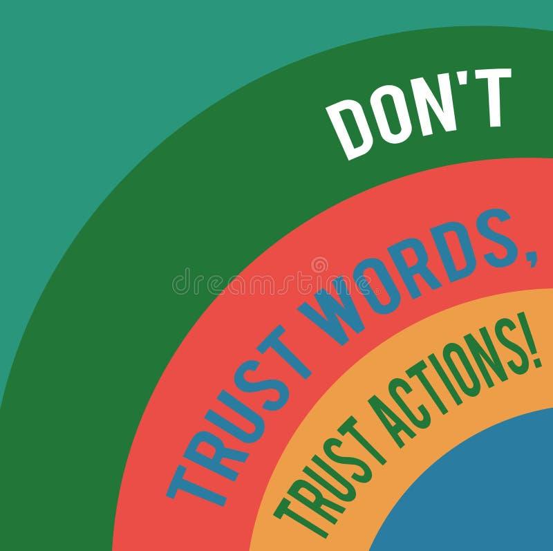 Word écrivant le texte Don T font confiance à des actions de confiance de mots Le concept d'affaires pour parler moins plus d'act illustration de vecteur