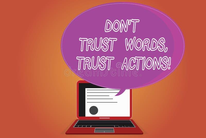 Word écrivant le texte Don T font confiance à des actions de confiance de mots Concept d'affaires pour parler moins plus de certi illustration stock
