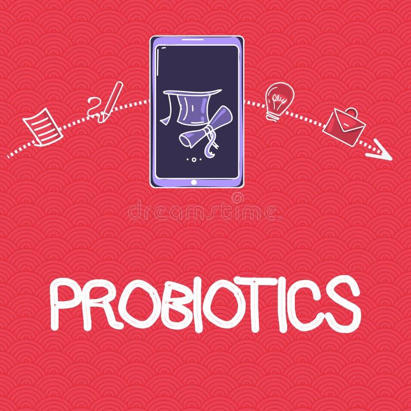 Word écrivant le texte Probiotics Le concept d'affaires pour le micro-organisme de bactéries Live a accueilli dans le corps pour  illustration libre de droits