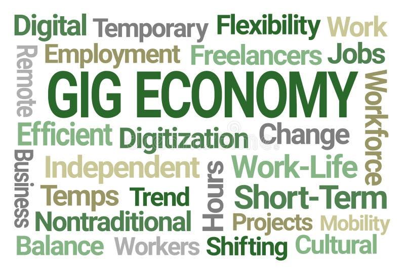 Σύννεφο του Word οικονομίας συναυλιών διανυσματική απεικόνιση