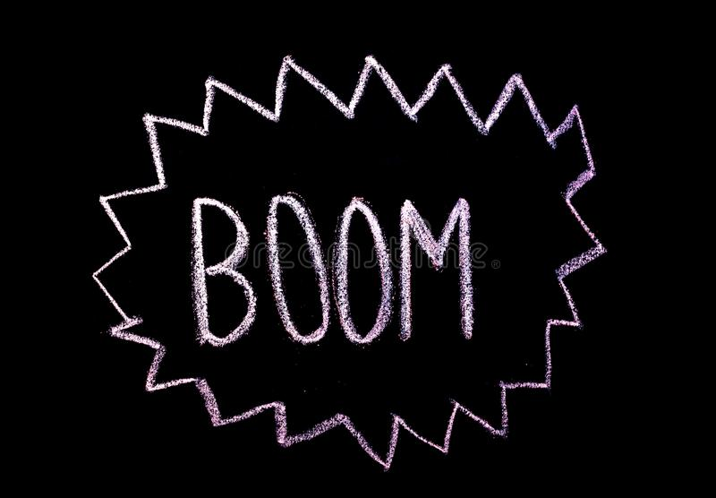 "Word ""boom ""drawned sur le tableau images stock"