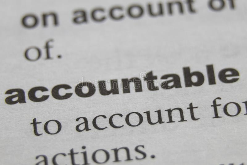 The Word Accountable Close Up.  royalty free stock image