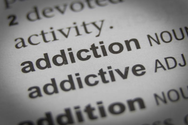 The Word Addiction Close Up royalty free stock image