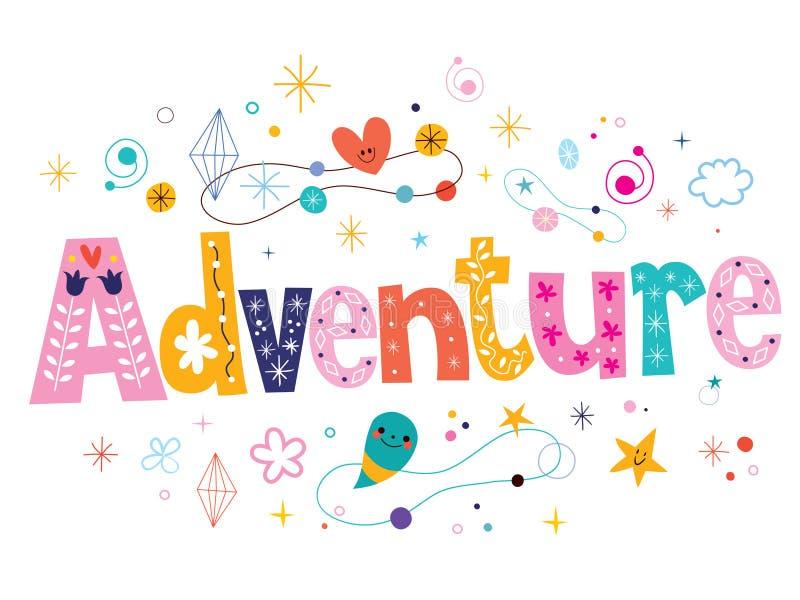Word adventure decorative type lettering text design vector illustration
