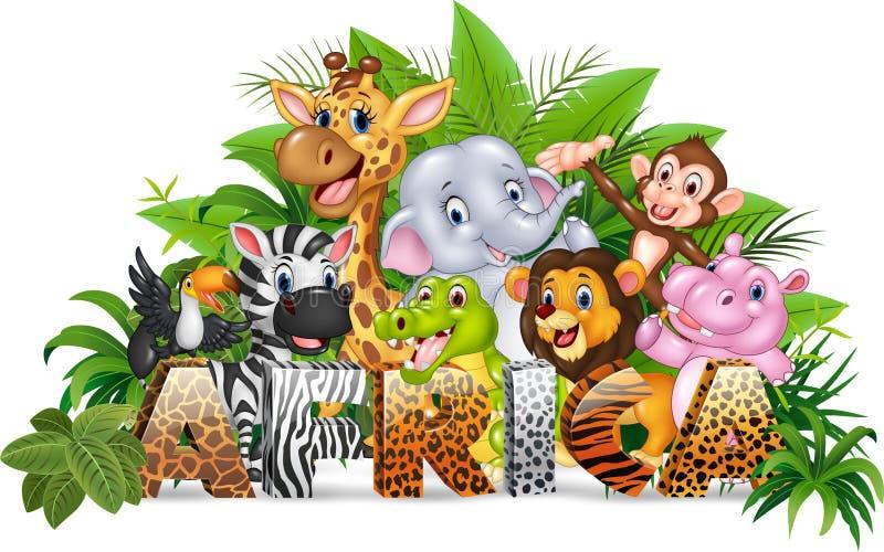 Word Afrique avec l'animal sauvage de bande dessinée drôle illustration de vecteur