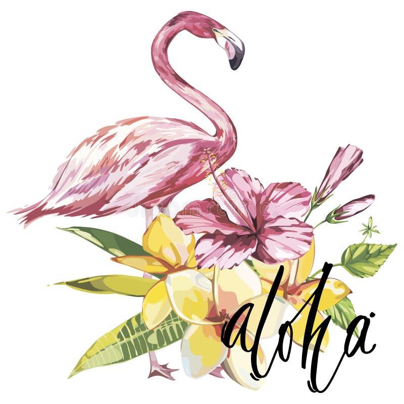 Word Aloha Flamingo met tropische bloemen Element voor ontwerp van uitnodigingen, filmaffiches, stoffen en andere voorwerpen stock illustratie
