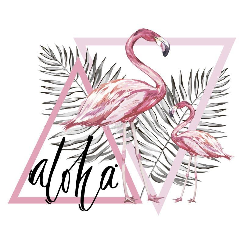 Word Aloha Flamingo met tropische bloemen Element voor ontwerp van uitnodigingen, filmaffiches, stoffen en andere voorwerpen royalty-vrije illustratie